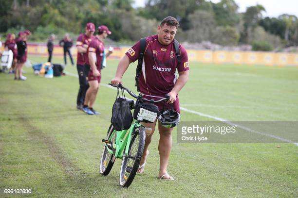 Josh Papalii leaves training early during a Queensland Maroons State of Origin training session at Intercontinental Sanctuary Cove Resort on June 16...