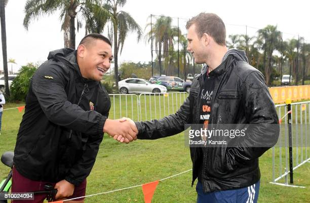 Josh Papalii meets WBO Welterweight world boxing champion Jeff Horn during a Queensland Maroons State of Origin training session at Sanctuary Cove on...