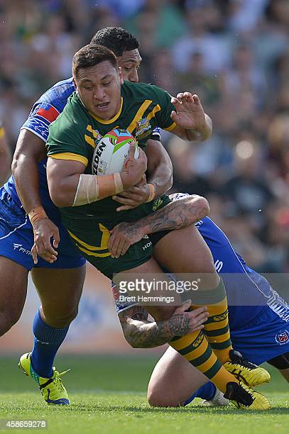 Josh Papalii of Australia is tackled during the Four Nations match between the Australian Kangaroos and Samoa at WIN Stadium on November 9 2014 in...