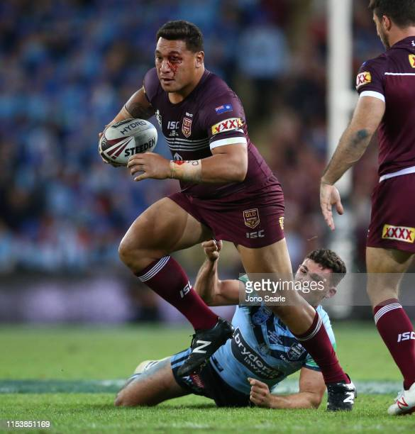 Josh Papalii of QLD makes a run during game one of the 2019 State of Origin series between the Queensland Maroons and the New South Wales Blues at...