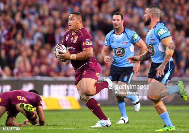 Josh Papalii of the Maroons breaks away from the defence during game three of the State Of Origin series between the Queensland Maroons and the New...