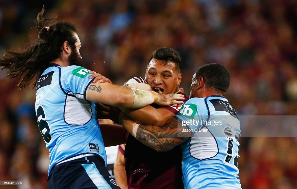 Josh Papalii of the Maroons in action during game one of the State Of Origin series between the Queensland Maroons and the New South Wales Blues at Suncorp Stadium on May 31, 2017 in Brisbane, Australia.