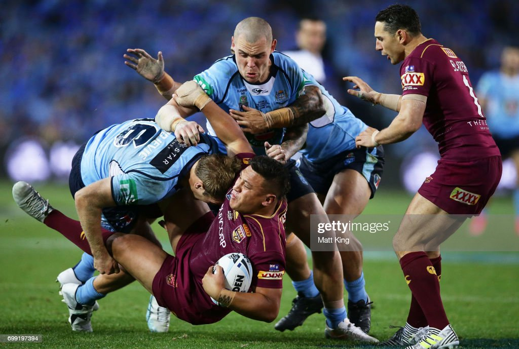 Josh Papalii of the Maroons is tackled during game two of the State Of Origin series between the New South Wales Blues and the Queensland Maroons at ANZ Stadium on June 21, 2017 in Sydney, Australia.