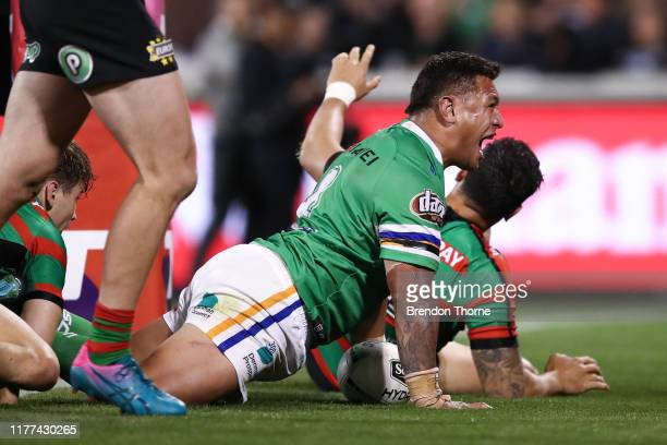 Josh Papalii of the Raiders celebrates after scoring a try during the NRL Preliminary Final match between the Canberra Raiders and the South Sydney...
