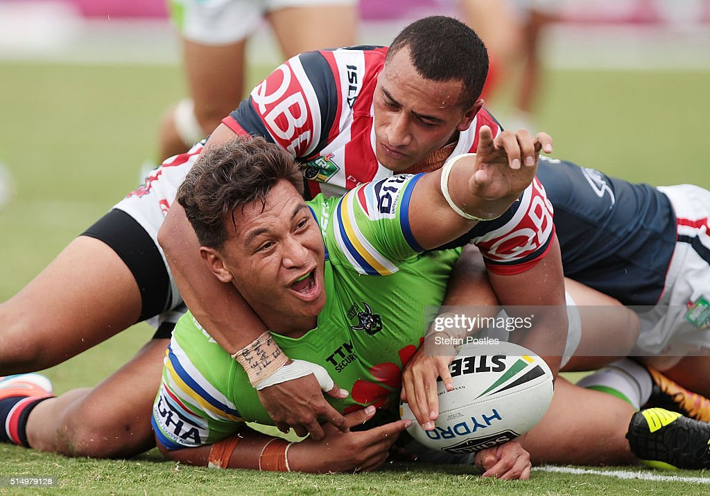 Josh Papalii of the Raiders celebrates after scoring during the round two NRL match between the Canberra Raiders and the Sydney Roosters at GIO Stadium on March 12, 2016 in Canberra, Australia.