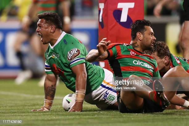 Josh Papalii of the Raiders celebrates scoring a try during the NRL Preliminary Final match between the Canberra Raiders and the South Sydney...