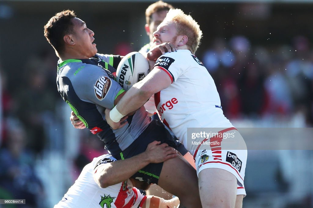 Josh Papalii of the Raiders is tackled by James Graham of the Dragons during the round 11 NRL match between the St George Illawarra Dragons and the Canberra Raiders at Glen Willow Sporting Complex on May 20, 2018 in Mudgee, Australia.