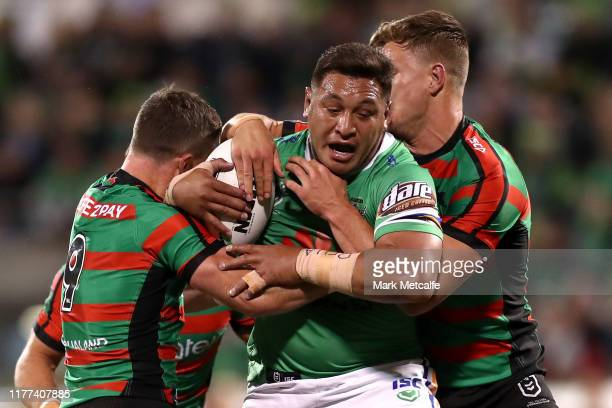 Josh Papalii of the Raiders is tackled during the NRL Preliminary Final match between the Canberra Raiders and the South Sydney Rabbitohs at GIO...