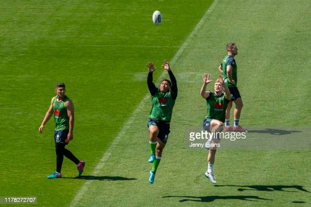 Josh Papalii of the Raiders jumps for the ball during a Canberra Raiders Training Session & Media Opportunity at GIO Stadium on October 01, 2019 in...