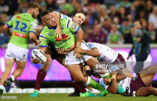 Josh Papalii of the Raiders looks for support during the round eight NRL match between the Canberra Raiders and the Manly Sea Eagles at GIO Stadium...