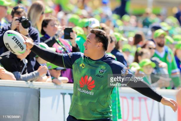 Josh Papalii of the Raiders looks towards fans during a Canberra Raiders Training Session Media Opportunity at GIO Stadium on October 01 2019 in...