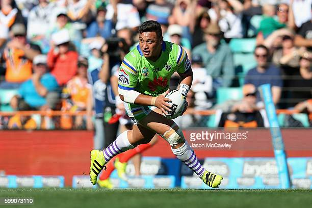 Josh Papalii of the Raiders scores a try during the round 26 NRL match between the Wests Tigers and the Canberra Raiders at Leichhardt Oval on...