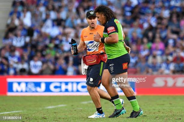 Josh Papalii of the Raiders walks off the field after being sent off during the round 10 NRL match between the Canterbury Bulldogs and the Canberra...