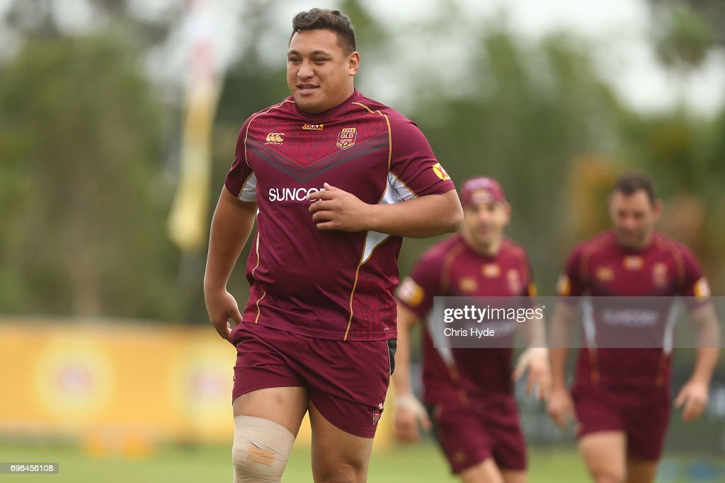 Josh Papalii runs during a Queensland Maroons State of Origin training session at Intercontinental Sanctuary Cove Resort on June 16, 2017 in Brisbane, Australia.