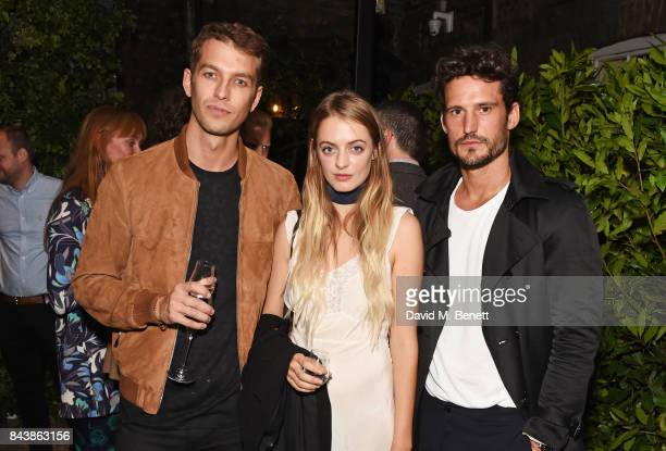 Josh Parkinson Idina Moncreiffe and Sam Webb attend the launch of the 'Kingsman' shop on St James's Street in partnership with MR PORTER MARV...