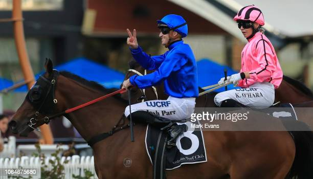 Josh Parr on Organza returns to scale after winning race 9 #TheRaces Handicap during Sydney Racing at Rosehill Gardens on November 24 2018 in Sydney...