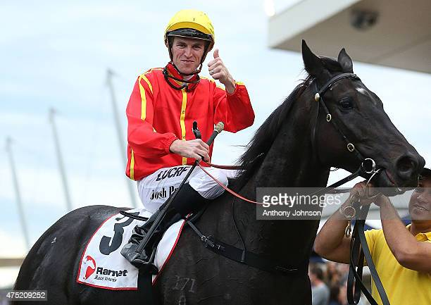 Josh Parr returns on Aussies Love Sport after winning race 8 The Ranvet Handicap during Sydney Racing at Rosehill Gardens on May 30 2015 in Sydney...