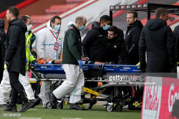 Josh Pask of Coventry City is taken off on a stretcher during the Sky Bet Championship match between AFC Bournemouth and Coventry City at Vitality...