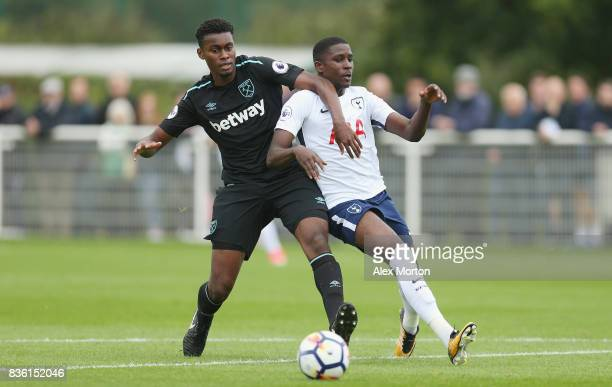 Josh Pask of West Ham and Shilow Tracey of Tottenham during the Premier League 2 match between Tottenham Hotspur and West Ham United at Tottenham...