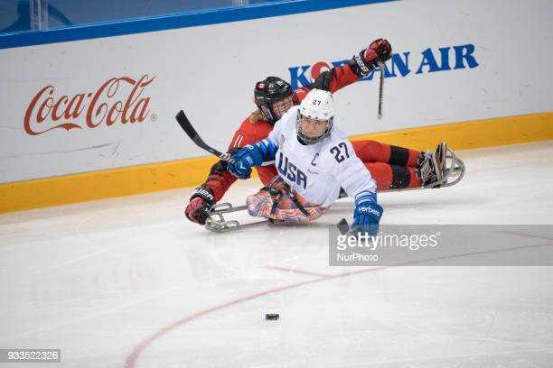 Josh PAULS and Adam DIXON during The Ice Hockey gold medal game between Canada and United States during day nine of the PyeongChang 2018 Paralympic...