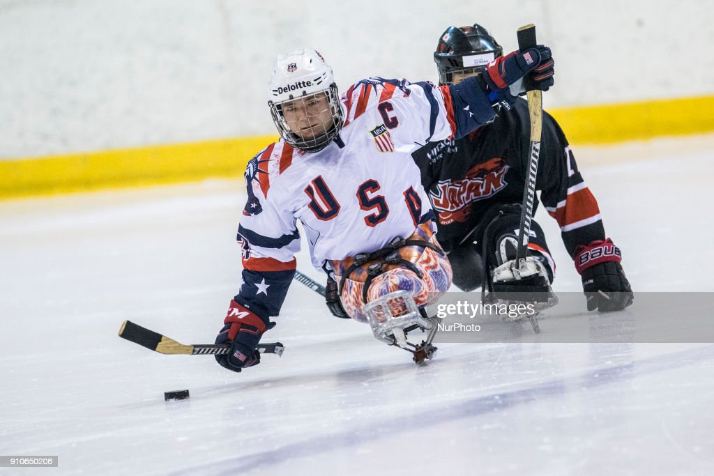 Josh Pauls (USA) during International Para Ice Hockey Tournament of Torino Semifinal match between USA and Japan in Turin, italy, on 26 Januray 2018. Usa team won 9 - 0. This is the last tournament before the Paralympic Games of Pyeongchang 2018 in Korea.
