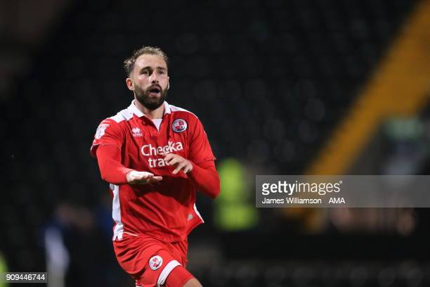 Josh Payne of Crawley Town celebrates after scoring a goal to make it 21 during the Sky Bet League Two match between Notts County and Crawley Town at...