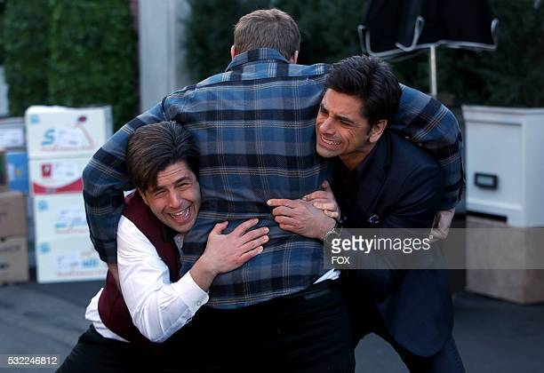 Josh Peck Alex Solowitz and John Stamos in the 'Gerald Fierce' episode of GRANDFATHERED airing Tuesday Feb 16 on FOX