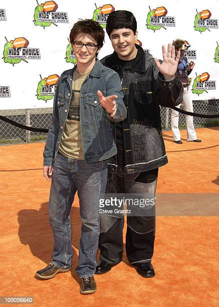 Josh Peck and Drake Bell during Nickelodeon's 16th Annual Kids' Choice Awards 2003 Arrivals at Barker Hanger in Santa Monica California United States