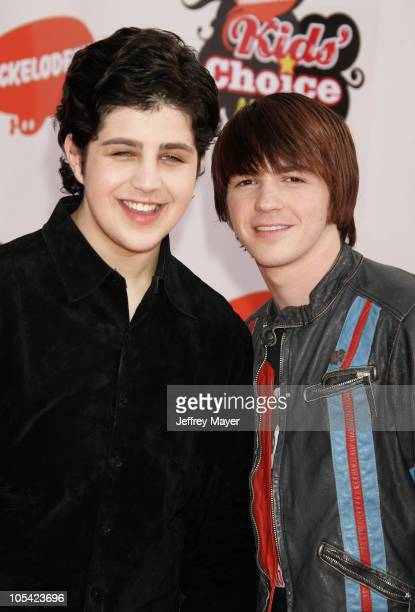 Josh Peck and Drake Bell during Nickelodeon's 18th Annual Kids Choice Awards Arrivals at UCLA Pauley Pavilion in Westwood California United States