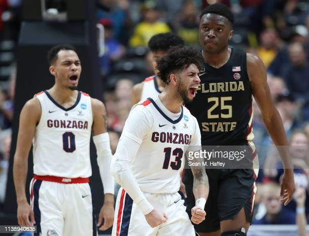 Josh Perkins of the Gonzaga Bulldogs celebrates after a charging foul is called on the Florida State Seminoles during the 2019 NCAA Men's Basketball...