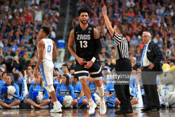 Josh Perkins of the Gonzaga Bulldogs celebrates after a play in the first half against the North Carolina Tar Heels during the 2017 NCAA Men's Final...