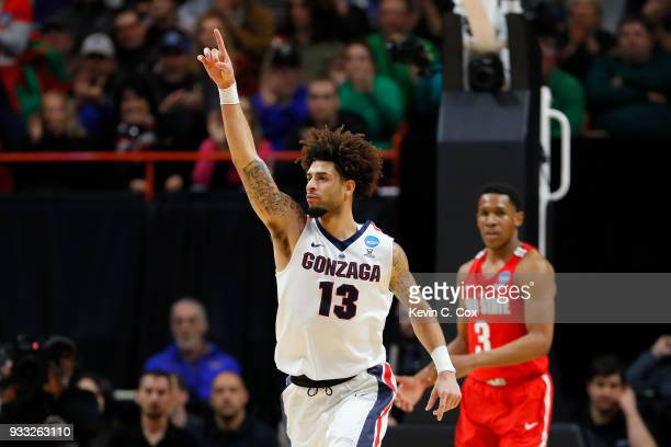 Josh Perkins of the Gonzaga Bulldogs celebrates during the second half against the Ohio State Buckeyes in the second round of the 2018 NCAA Men's...