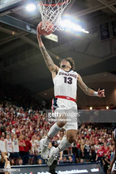 Josh Perkins of the Gonzaga Bulldogs goes to the basket against the Loyola Marymount Lions in the first half at McCarthey Athletic Center on January...