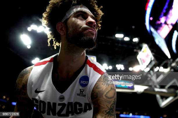 Josh Perkins of the Gonzaga Bulldogs reacts after being fouled in the first half agaisnt the Florida State Seminoles in the 2018 NCAA Men's...