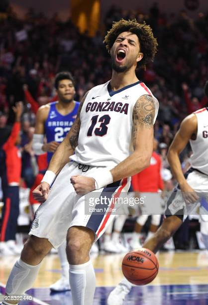 Josh Perkins of the Gonzaga Bulldogs reacts after scoring off a Brigham Young Cougars turnover during the championship game of the West Coast...