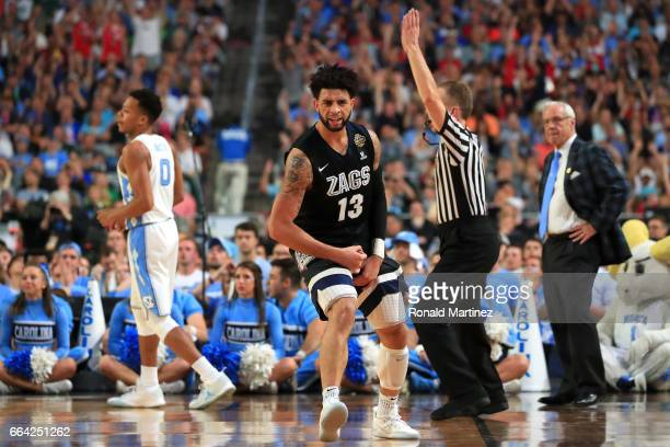 Josh Perkins of the Gonzaga Bulldogs reacts in the first half against the North Carolina Tar Heels during the 2017 NCAA Men's Final Four National...