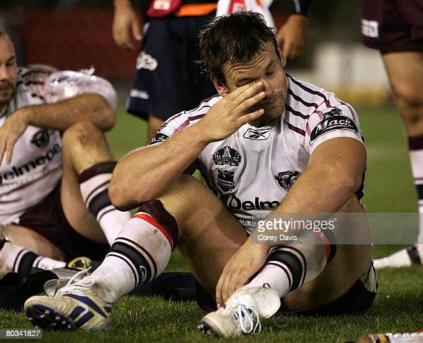 Josh Perry of the Sea Eagles show his dejection after losing in golden goal extra time after the round two NRL match between the Newcastle Knights...