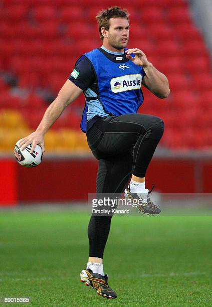 Josh Perry warms up during a New South Wales Blues State of Origin training session at Suncorp Stadium on July 14 2009 in Brisbane Australia