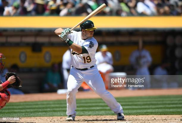 Josh Phegley of the Oakland Athletics bats against the Boston Red Sox in the bottom of the second inning at Oakland Alameda Coliseum on May 21 2017...