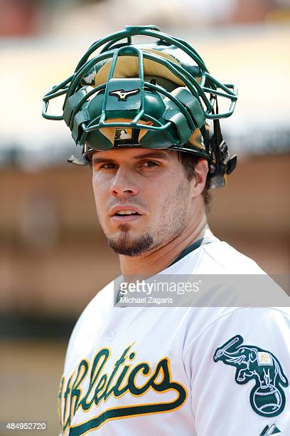 Josh Phegley of the Oakland Athletics stands on the field during the game against the Houston Astros at Oco Coliseum on August 8 2015 in Oakland...