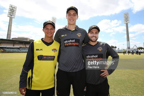 Josh Philippe, Cameron Green and Josh Inglis of WA pose after being presented their caps by Mike Hussey during the JLT One Day Cup match between...