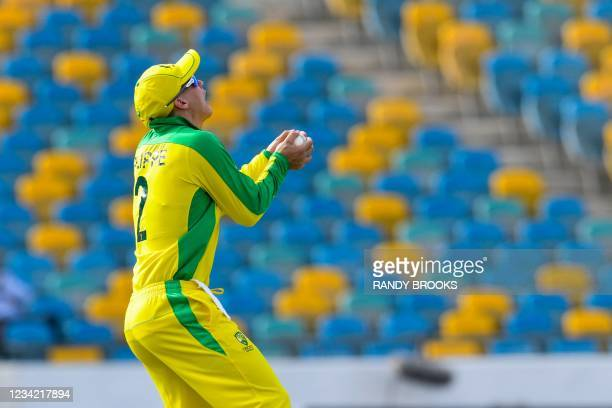Josh Philippe of Australia takes the catch to dismiss Darren Bravo of West Indies during the 3rd and final ODI between West Indies and Australia at...