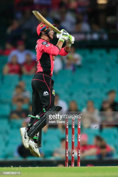 Josh Philippe of the Sixers bats during the BBL match between the Sydney Sixers and Hobart Hurricanes at Sydney Cricket Ground on January 23 2019 in...