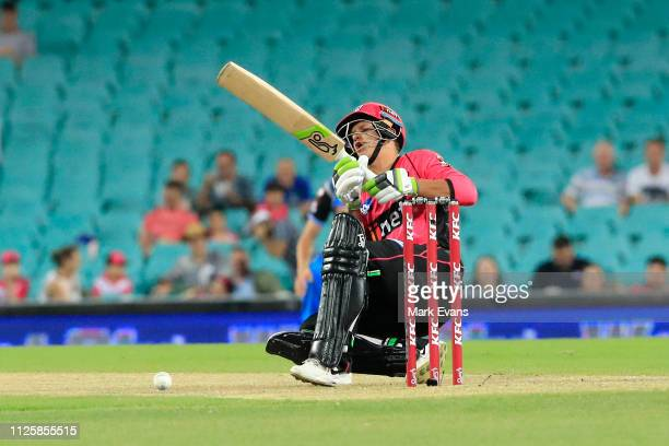 Josh Philippe of the Sixers goes down after being hit by the ball during the Big Bash League match between the Sydney Sixers and the Adelaide...