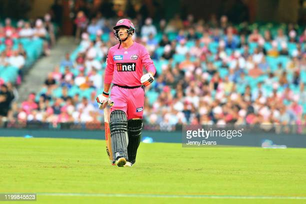 Josh Philippe of the Sixers walks off after being stumped during the Big Bash League match between the Sydney Sixers and the Hobart Hurricanes at the...