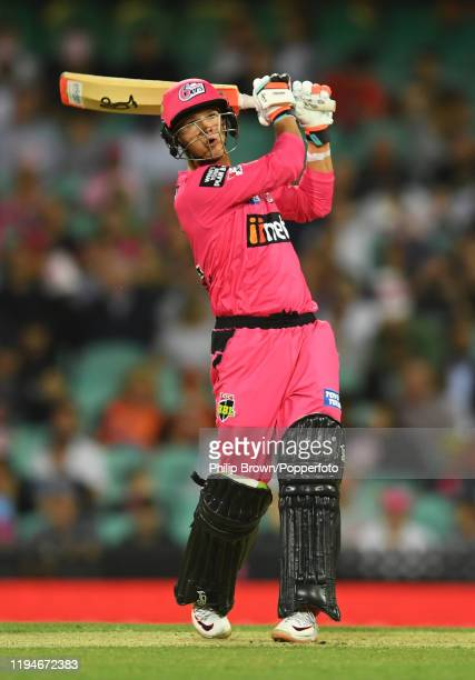 Josh Philippe of the Sydney Sixers hits out during the Big Bash League match between the Sydney Sixers and the Perth Scorchers at the Sydney Cricket...