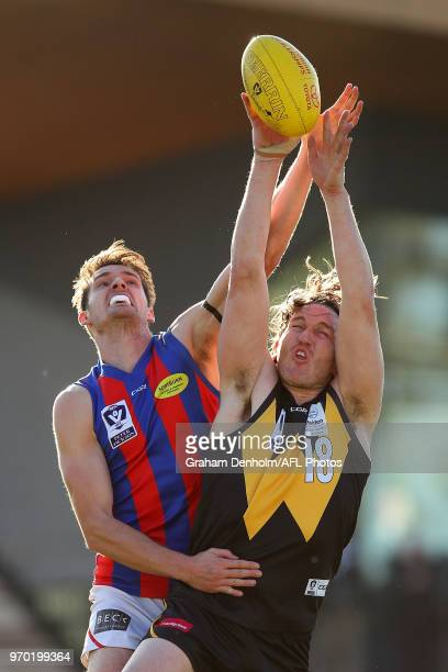 Josh Porter of Werribee competes in the air during the round 10 VFL match between Werribee and Port Melbourne at Avalon Airport Oval on June 9, 2018...