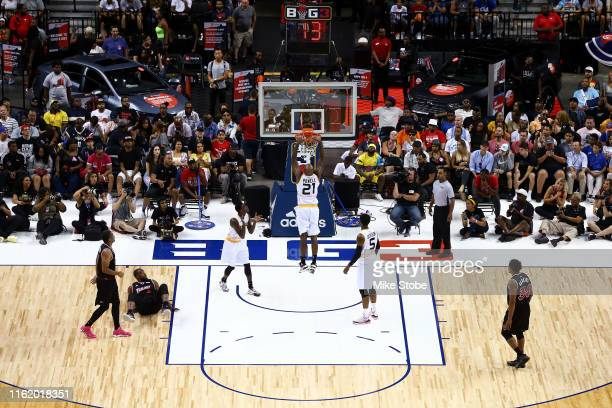 Josh Powell of Killer 3s dunks against Trilogy during week four of the BIG3 three-on-three basketball league at Barclays Center on July 14, 2019 in...