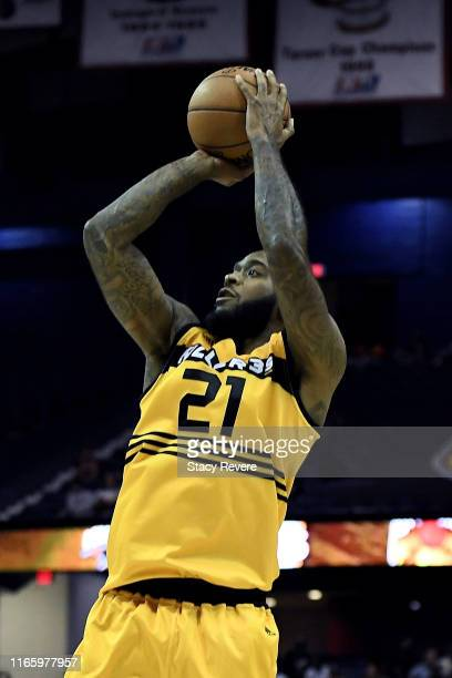 Josh Powell of the Killer 3's attempts a shot in the first half against the Bivouac during week seven of the BIG3 three on three basketball league at...