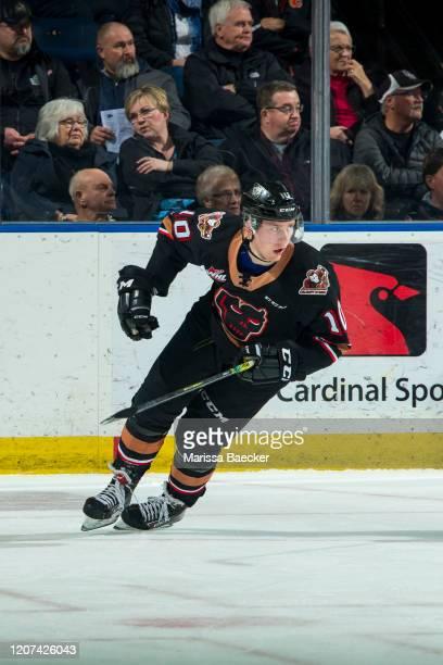 Josh Prokop of the Calgary Hitmen skates against the Kelowna Rockets at Prospera Place on February 17, 2020 in Kelowna, Canada.
